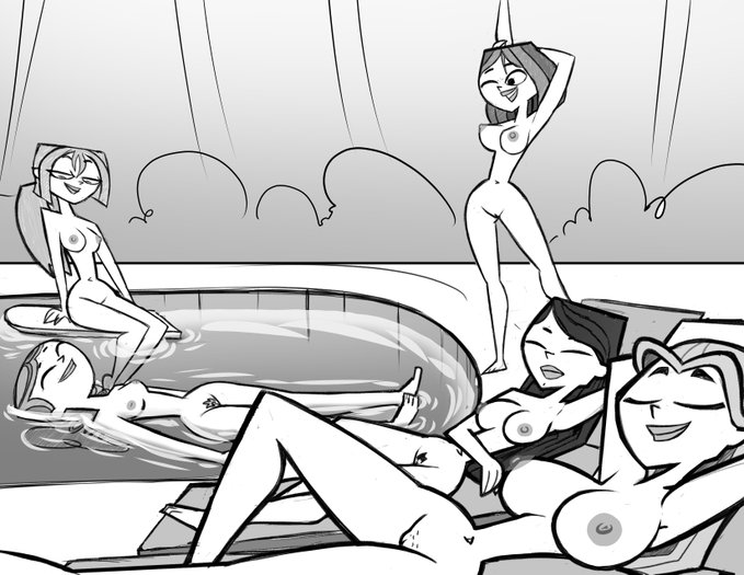naked drama courtney total island Johnny test in black and white